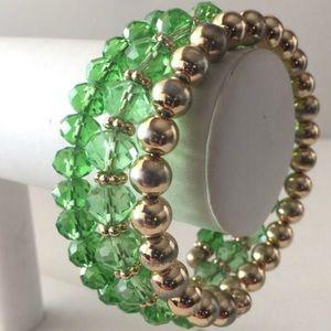 Memory Bracelet, Green Glass Faucet Beads